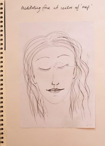 Very early on I had the idea for a meditating face to be the focal point of my map of mindfulness