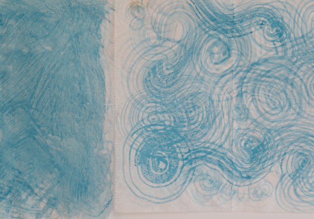 Turquoise acrylic blue ink is too bold. Liking the swirling pattern